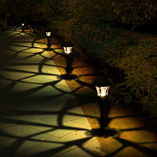 BEAU JARDIN 8 Pack Solar Lights Bright Pathway Outdoor Garden Stake Glass Stainless Steel Auto On/Off White Wireless Sun Powered Landscape Lighting for Yard Walkway Landscape Spike Pathway Warm White