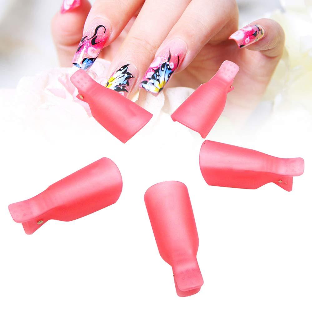 Vinmax 10Pcs Acrylic Nail Art Soak Off Clip Cap Uv Gel Polish Remover Wrap Nail Tool (Rose Red)