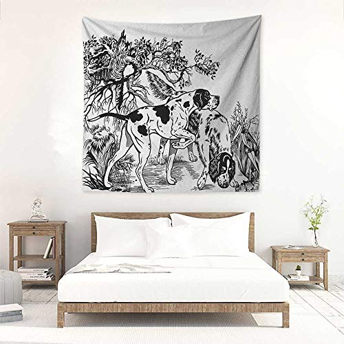 Setter English Tapestry (Hunting high-end Quality Tapestry Hunting Dogs in The Forest Monochrome Drawing English Pointer and Setter Breeds Tapestry for Home Decor 32W x 32L INCH Black White)