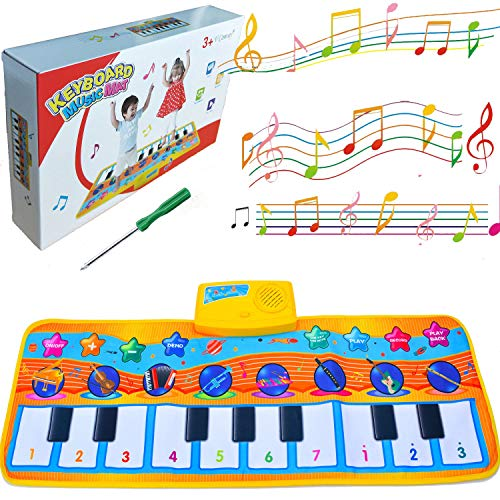 V Convey Kids Piano Music Mat, Toddler Floor Dance Mat, Baby Musical Toys, 10 Piano Touch Keyboard, 8 Musical Instruments, 5 Mode Playmat Carpet Electronic Dance Blanket Early Educational Toy Gift