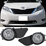 Lights Fit For 2011-2017 Toyota Sienna | Front Clear Fog Lights Driving Lamps Pair+Covers by IKON MOTORSPORTS | 2012 2013 2014 2015 2016
