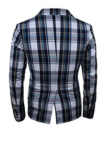 Uomo Quadri Fit Blazer Casual Giacca Slim Cotone Blu 100 Fantasia xCF5ww0X