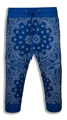 NEW Men Caprice Capri French Terry Joggers Shorts Bandana Print ALL SIZES Crop (L, - French Pant Terry Crop