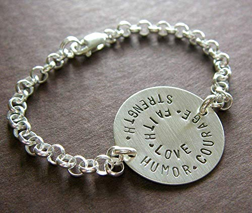 - Personalized Spiral Charm Bracelet - Custom Hand Stamped Sterling Silver with Optional Birthstone