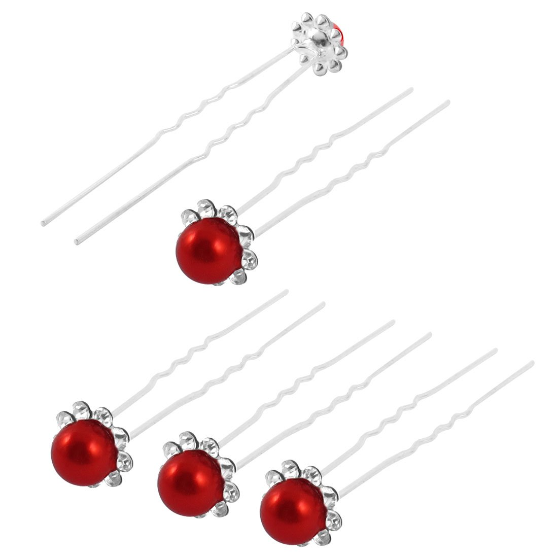 uxcell Wedding Bridal Bridesmaid Imitation Pearl Flower Crystal Decor Hair Pin Clip 5pcs Red a15031000ux0140
