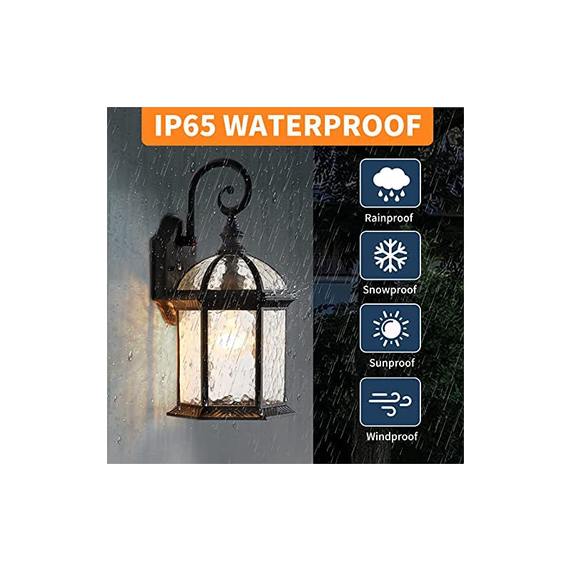 """LONEDRUID Outdoor Wall Light Fixtures Black 15.35""""H Exterior Wall Lantern Waterproof Sconce Porch Lights Wall Mount for House, UL Listed"""
