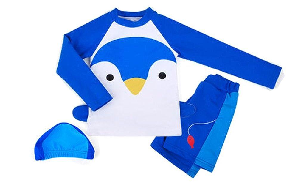 Ozkiz Boys Rash Guard Swim Shirts Sets with Pants Penguin