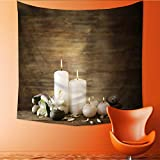 UHOO2018 Square Tapestry Beautiful Composition with Candles and spa Stones on Wooden Throw, Bed, Tapestry, or Yoga Blanket 32W x 32L Inch