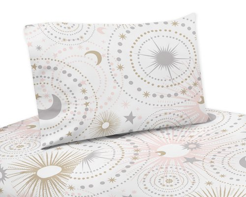 Sweet Jojo Designs 3-Piece Blush Pink, Gold, Grey and White Star and Moon Twin Sheet Set for Celestial Collection -