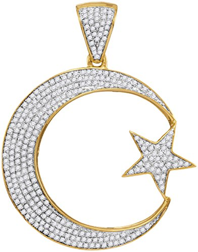10K Yellow Gold Mens Diamond Star & Crescent Necklace Pendant 3/4 -