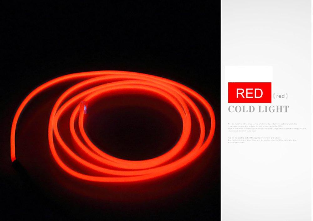 Atm/ósfera decorativa del coche Luz de ne/ón Panel Gap Tira de luz de ne/ón Ajuste interior fr/ío Atm/ósfera brillante Luz fr/ía L/ámpara Tira de l/ínea con encendedor de cigarrillos 5 metros rojo