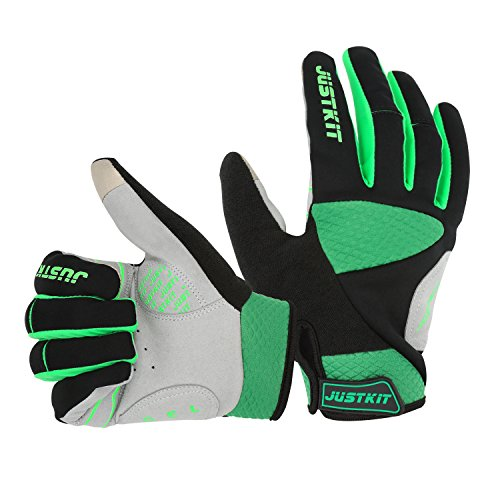 Racing Mens Bike (JUSTKIT Cycling Gloves -Touch Screen Full Finger Bike Gloves - Windproof Mountain Bike Gloves - Road Racing Bicycle Gloves - Gel Pad Biking Gloves For Women and Men)