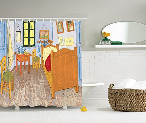 Artist Artwork Shower Curtain Drawings by Vincent Van Gogh Bedroom in the Arles Reproduction for Bathroom Decoration Decorative Art 100 Masterpieces - Mustard Ivory Red Green Light Blue ()