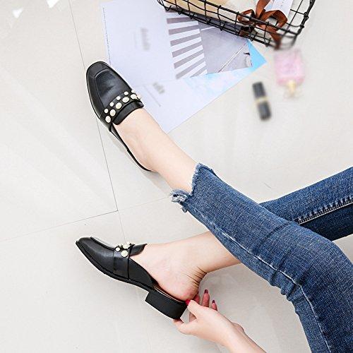 T-july Penny Mocassini Scarpe Da Donna -fashion Slip On A Tacco Basso Pantofole Casual Punta Quadrata