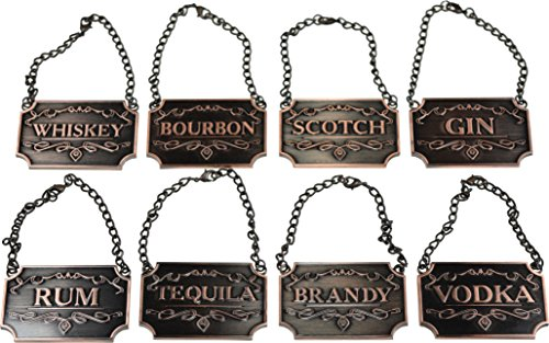 Liquor-Decanter-Tags-Labels-Set-of-Eight-Copper-or-Silver-Available-Whiskey-Bourbon-Scotch-Gin-Rum-Vodka-Tequila-and-Brandy-Copper-Colored-Adjustable-Chain-for-the-Perfect-Fit-Copper