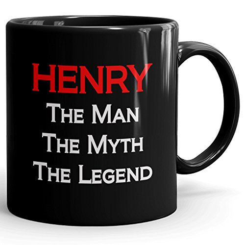 MugMax The Man the Myth the Legend D3 Ceramic Coffee Mug Personlized Henry Black 11 oz