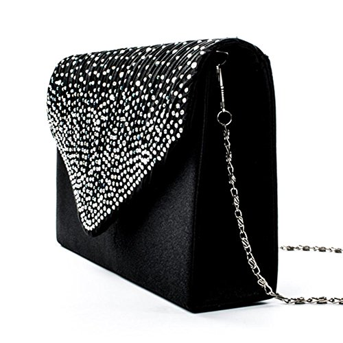 Wedding Clutch studded Evening Party Handbag PROKTH Wedding Bag Rhinestone Envelope Nero Bag Women's Satin YnHPq