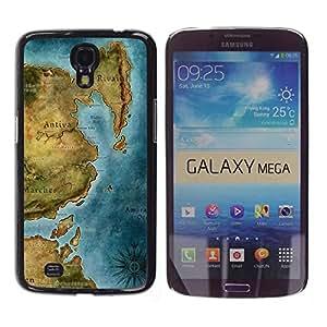 Caucho caso de Shell duro de la cubierta de accesorios de protección BY RAYDREAMMM - Samsung Galaxy Mega 6.3 I9200 SGH-i527 - Ancient Map Continent Sea Ocean Chart