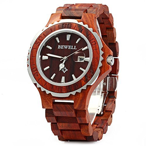 Bewell 100BG Wooden Watch Analog Quartz Light Weight Vintage Wrist Watch for Men (Red Sandalwood)