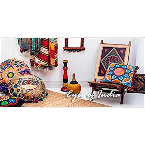 Eyes of India 24 Blue Yellow Pink Round Colorful Decorative Floor Pillow Cover Cushion Seating Meditation Throw Bohemian Boho Indian Cover ONLY