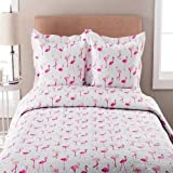 C&U 3 Piece Pink White Whimsical Elephant Printed Quilt King Set, Light Pink Milk White Animal Zoo Jungle Safari Bohemian Teen Themed Kids Bedding for Bedroom Trendy, Polyester Microfibre