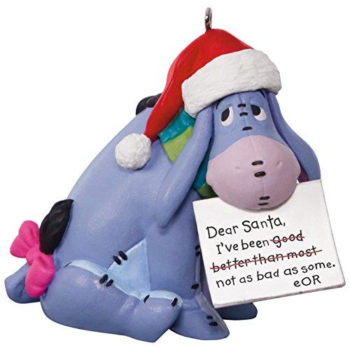 Donkey Ornament Christmas (Hallmark Keepsake 2017 Disney Winnie the Pooh Eeyore A Letter to Santa Christmas Ornament)
