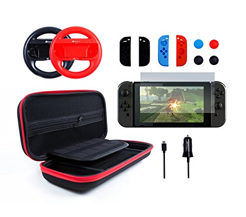 Pegly 13-1 RED Accessories Kit For Nintendo Switch, Including HD Carrying Case,Two Joy-Con Steering Wheels, Car Charger, Joy-con Silicon case and Tempered Glass