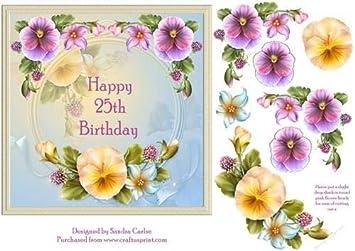 Joyeux 25e Anniversaire Floral Decoration Par Sandra Carlse Amazon