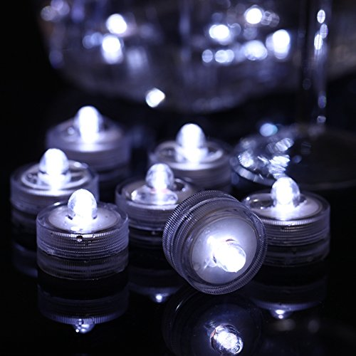 Bowl Arrangement (Waterproof Wedding Tea Lights, Under Vase Lighting, Submersible Lights for Pool, Centerpiece, Floral Arrangements, Holidays, Pond Light Decoration(Cool White/12 Pack))