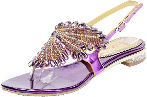 Abby Womens Comfort Crystal Wedding Bride Bridesmaid Fashion Party Show Dress Character Flat Sandals Purple uhjm6L4hDG