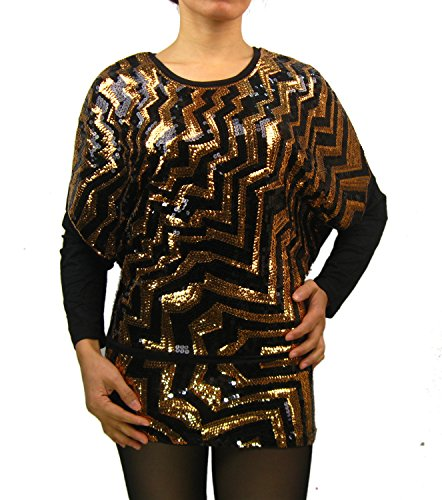 Metallic Vintage 80's Geometric Batwing Dolman Sleeve Long Top Sweater Gold