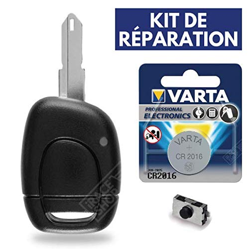 Boitier de T/él/écommande /à Distance Cl/é 1 Bouton Plip Renault Clio Kangoo Twingo ➜ Pile CR2016 VARTA Kit iRace Keys/®