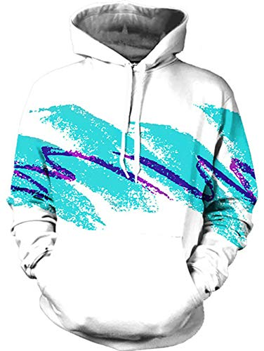 TUONROAD Mens Athletic Hoodie 90s Jazz Solo Paper Cup Blue Purple White Womens 3D Graphic Sweatshirts Casual Loose Hip Hop Realistic Drawstring Hooded Sweaters with Pocket for Adult Youth