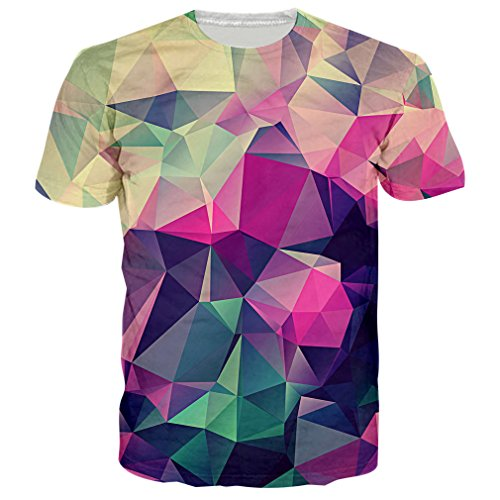 RAISEVERN Unisex Geometric Pattern Print Short Sleeve Crewneck T-Shirts Tops S