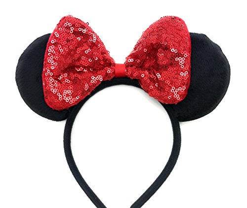 MeeTHan Mickey Mouse Minnie Mouse Sequin Ears Red Headbands: M8 (SQ-Red) -