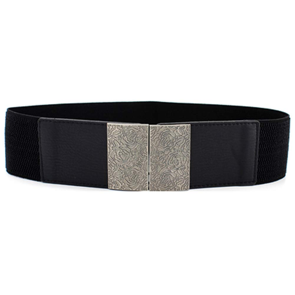 EL99 Womens Dress Waist Belts Metal Interlock Buckle Wide Elastic Waist Retro Cinch Belt