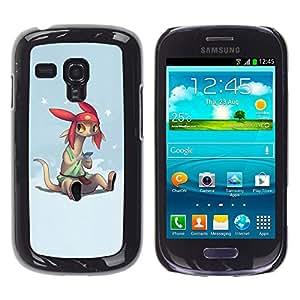 Qstar Arte & diseño plástico duro Fundas Cover Cubre Hard Case Cover para Samsung Galaxy S3 III MINI (NOT REGULAR!) / I8190 / I8190N ( Cartoon Character Anime Technology Big Ears)