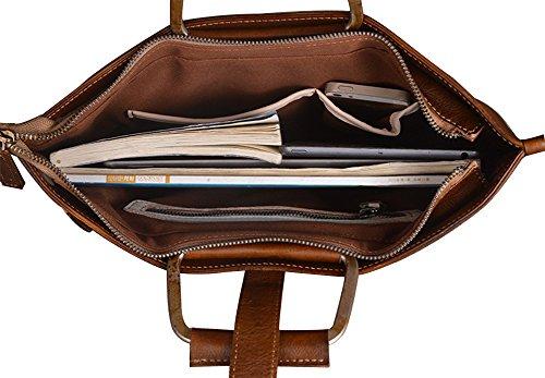 Genda 2Archer Bolso del Ordenador Portátil de la Mano del Cuero Genuino del vingate bolso del ordenador Portátil de 12 Pulgadas Para los Hombres (37cm * 0.5cm * 27cm) (Marrón) Marrón