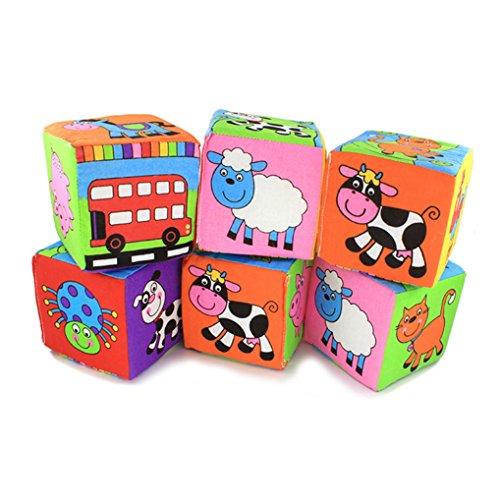 Amazemarket 6PCS Séries Nourrissons Bébés Tissu Doux Animal Jouet Mousse Saisir et Empiler Blocs de Construction Cubes Développement Jouet 10*10cm