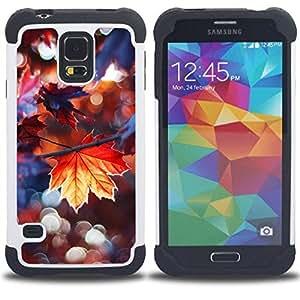 """Pulsar ( Lluvia de otoño dom árbol Naturaleza"""" ) SAMSUNG Galaxy S5 V / i9600 / SM-G900 V SM-G900 híbrida Heavy Duty Impact pesado deber de protección a los choques caso Carcasa de parachoques [Ne"""