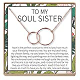 Dear Ava Necklace: BFF, Long Distance, Friends Forever, Friends, 2 Interlocking Circles (Rose-Gold-Plated-Brass, NA)