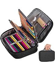 Grote pennenetui, etui met 72 sleuven, draagbare pennenmap, organizer, schoolpotloden, organizer, grote capaciteit, potloodzak, afneembaar, mapje voor volwassenen en jongens, zwart
