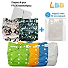 Baby Reusable Boy Pocket Cloth Diapers, 6 pcs + 6 Inserts