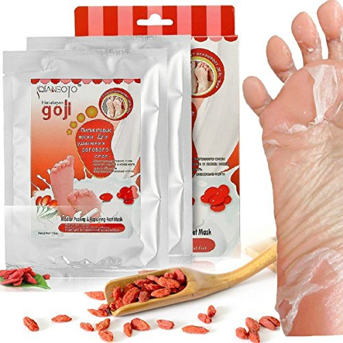 2 Pairs Foot Peel Mask, Contains Goji, for Men Women Baby, Ultra Repairing Feet Mask, Exfoliate Dry Dead Skin Foot Treatment Calluses Removal Repair Rough Heels Clear Heels