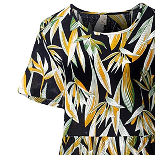 KawaiineWomen Boho O-Neck Print Pleated Easy Cotton and Linen Long Dress