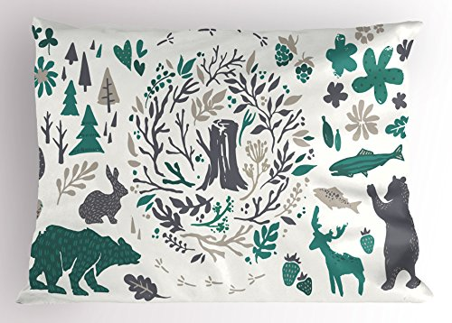 "Lunarable Cabin Pillow Sham, Hand Sketched Elements of Northern Forest Berries Trees Fish Rabbit and Bird, Decorative Standard Queen Size Printed Pillowcase, 30"" X 20"", Green White"