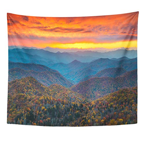 Emvency Wall Tapestry North Carolina Blue Ridge Parkway Mountains Sunset Scenic Landscape Near Asheville Nc During The Autumn Fall Foliage Decor Wall Hanging Picnic Bedsheet Blanket 60x50 Inches