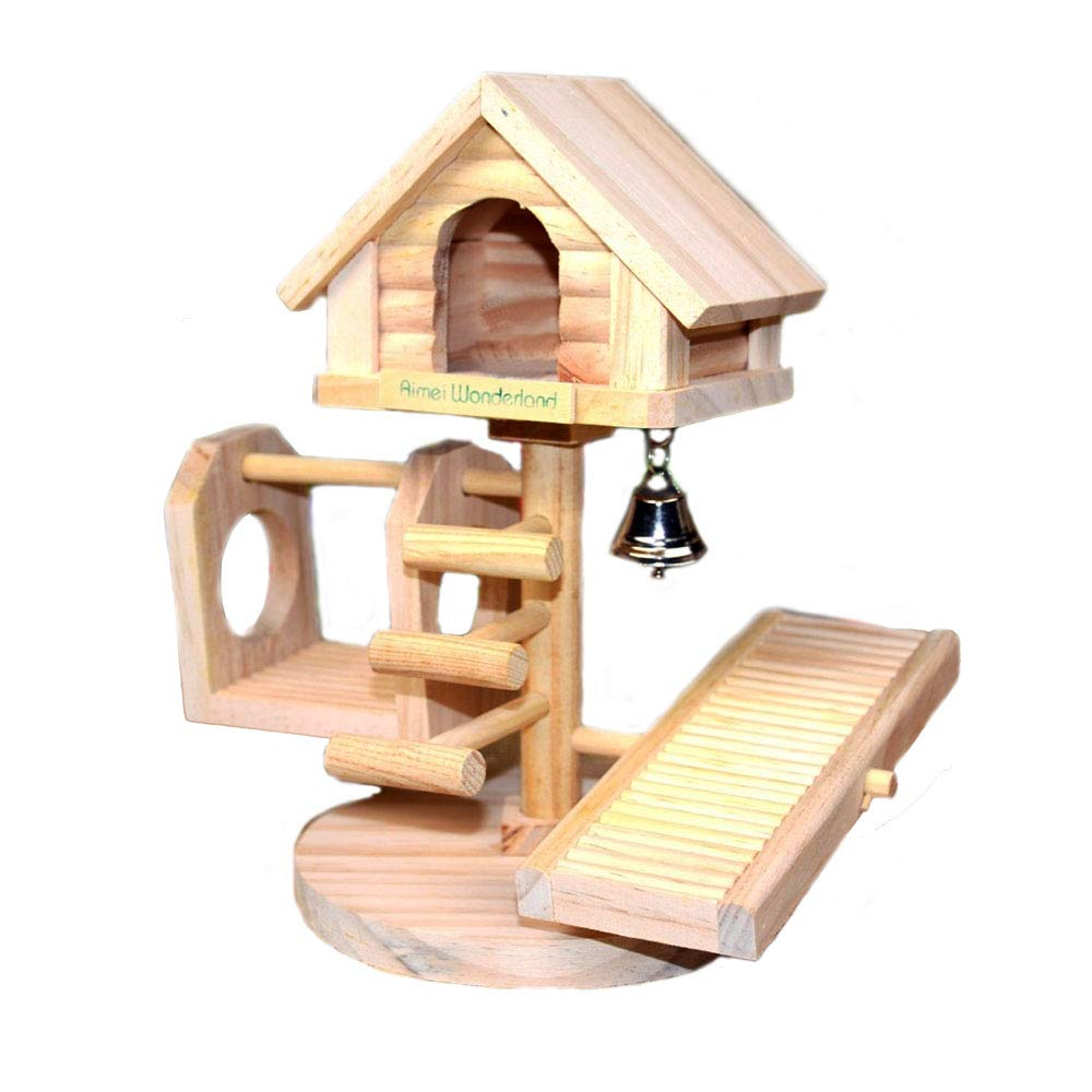 Dwarf Hamster House Durable Odorless Non-Toxic Deluxe Two Layers Wooden Hut for Hamster Toys Hamster House Natural Living Wooden Castle, Small Animal Playground Chew Toy (1castle Set)