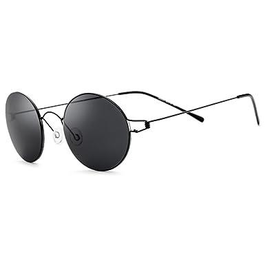 563a9c422f56 100% Real Titanium No Screw Rimless Round Sunglasses For Men Women  Ultralight (Black