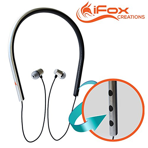 iFox iFE5 Wireless Bluetooth Neckband Headphones Earphones with Built-in Mic for iPhone, iPad, iPod, Android Smartphones, Tablets, Computers, MP3 Players - Comfort Fit In-Ear Earphones Earbuds